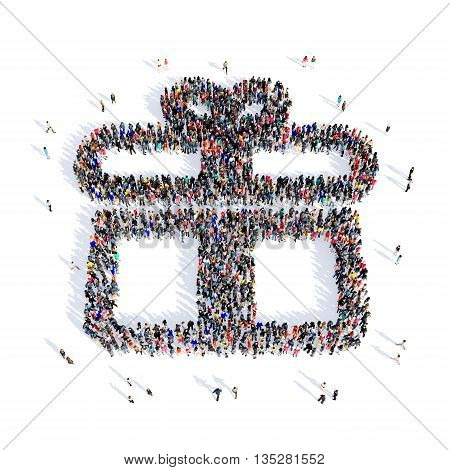 Large and creative group of people gathered together in the shape of gift image. 3D illustration, isolated, white background.
