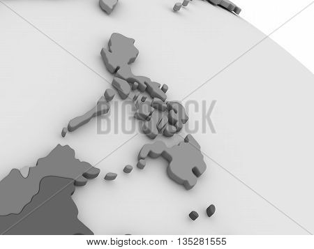 Philippines On Grey 3D Map