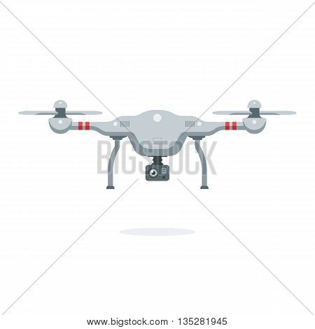 Cartoon quadcopter. Remote drone with a camera taking photography or video recording. Vector illustration. Flat design style