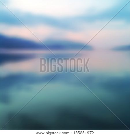 vector blurred seascape, realistic summer background of sea and mountains