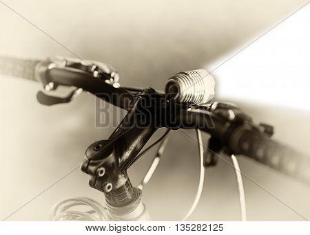 Horizontal sepia bicycle flashlight bokeh background hd