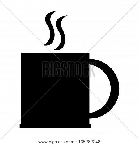 black silhouette of cup with handle vector illustration