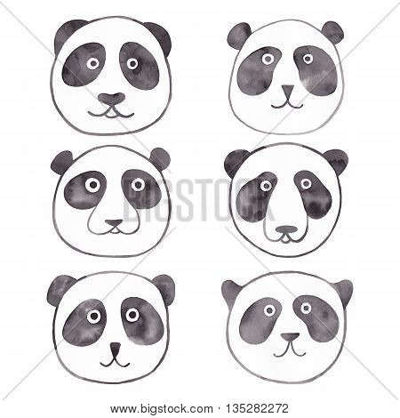 Panda face watercolor illustration isolated on white background