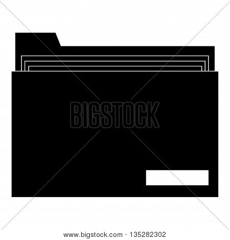 black and white folder with document inside vector illustration