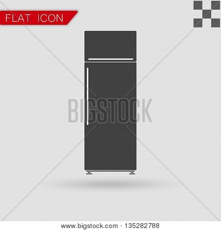 Black refrigerator vector Flat Style with red mark