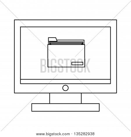 simple black line computer monitor with folder on screen vector illustration