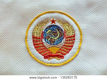Fabric soviet USSR emblem with hammer and sickle