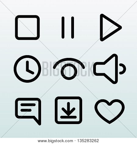 Set of quality vector outline icons, symbols, signs. Web and mobile design elements