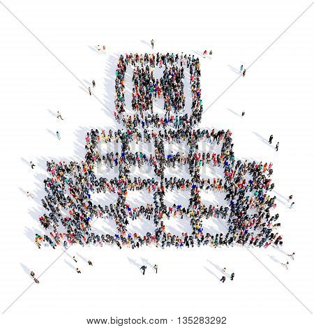 Large and creative group of people gathered together in the shape of a hospital, medicine, image. 3D illustration, isolated, white background.