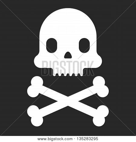 Cartoon skull icon. Halloween design element. Pirate flag. Vector flat illustration.