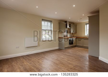 Beautiful brand new apartment open plan living room/kitchen with wooden flooring and built-in appliances