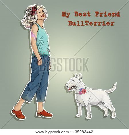 Young girl color hair with best friend bullterrier