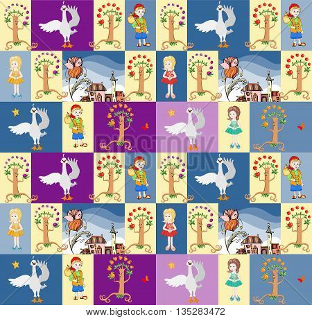Childish seamless patchwork pattern with boy and girl, swan, fairy town and fruit trees. Fantasy vector illustration.