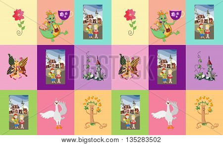 Childish seamless patchwork pattern with dragon, prince, princess, swan, tree, castle, flower and butterfly. Fantasy vector illustration.