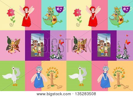 Childish seamless patchwork pattern with fairies, dragon, prince, princess, swan, tree, castle, flower and butterfly. Cute vector illustration.