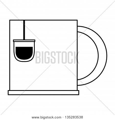 cup with tea bag vector illustration , flat style icon design