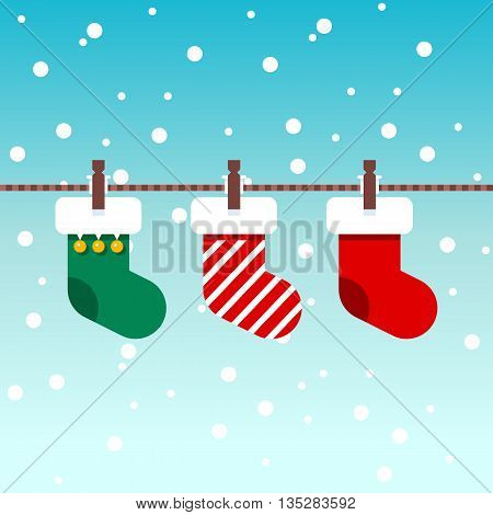 Christmas stockings in winter nature. Christmas green and red socks. Snowed background. Vector illustration. Flat design style