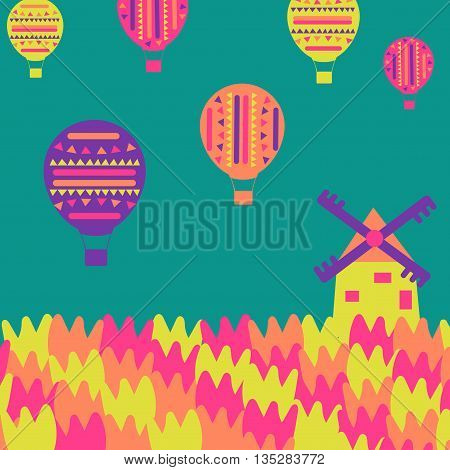 The windmill, tulips, air balloons on a simple background.