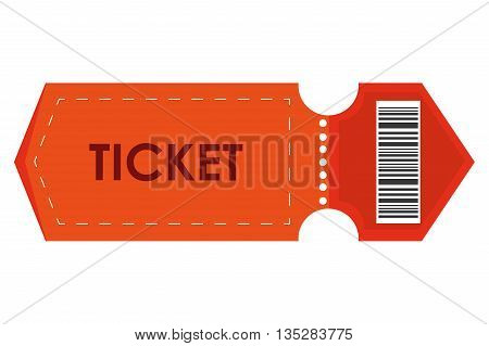 orange event ticket vector illustration , flat style icon design