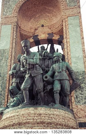 ISTANBUL, TURKEY - OCTOBER 6, 2014: Independence Monument commemorating Kemal Ataturk and the founding of the Turkish Republic 1923 Taksim Square in Istanbul Turkey