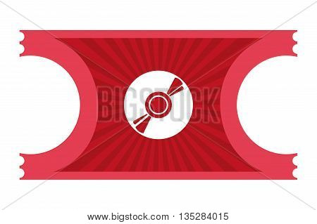 red movie ticket with cd icon on it vector illustration