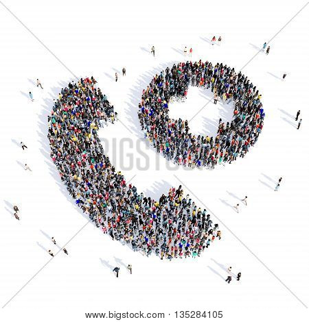 Large and creative group of people gathered together in the shape of a handset, hour consultation, pictures. 3D illustration, isolated, white background.