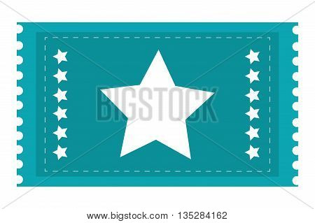 blue movie ticket with stars on it vector illustration