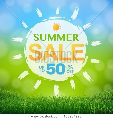Discount Poster With Grass Border, With Gradient Mesh, Vector Illustration