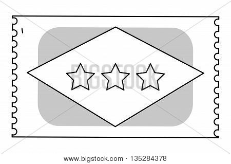 movie ticket with three stars on it vector illustration