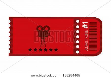 red movie ticket with film projector on it vector illustration