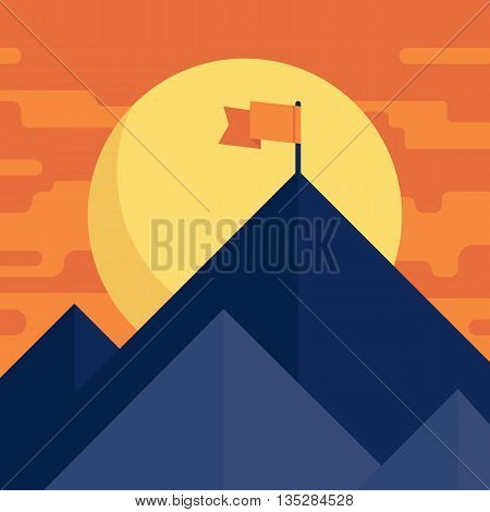 Success or leadership concept with mountain landscape. Vector flat illustration