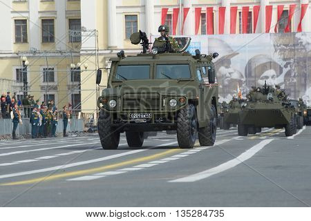 SAINT PETERSBURG, RUSSIA - MAY 05, 2015: Multi-purpose armored vehicle