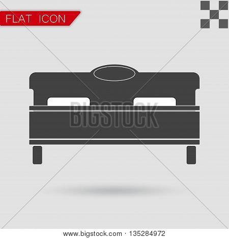 Vector black bed icon Flat Style with red mark