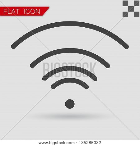 Vector black Wi-Fi Icon Flat Style with red mark