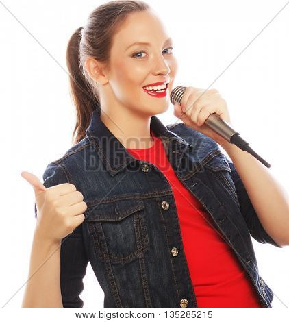 Beauty woman wearing red t-shirt  with microphone