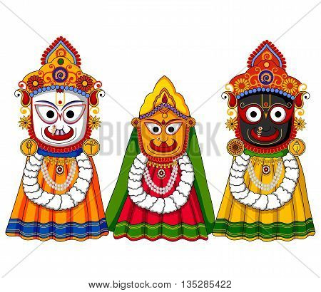 Vector design of Lord Jagannath Subhadra and Balabhadra