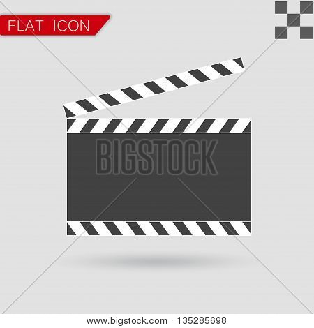 Vector art. Film clapper board icon Flat Style with red mark