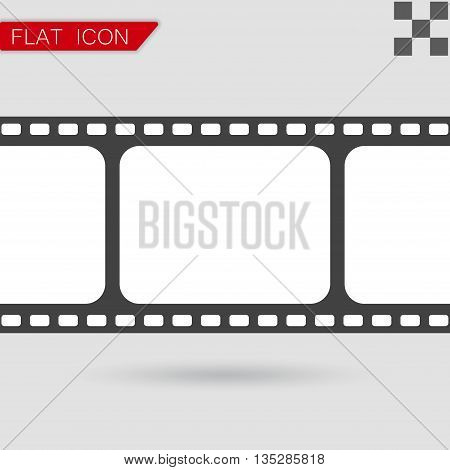 Vector film strip with space for your text Flat Style with red mark