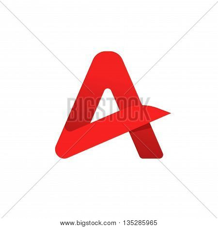 Letter a logo vector symbol isolated on white background, flat red geometric rounded letter a logotype with gradient shadow, creative brand sign