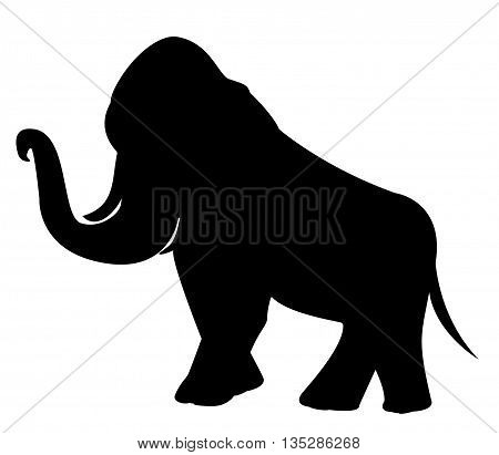 A black stencil of  large beautiful elephant.