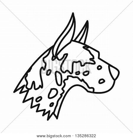 Great dane dog icon in outline style isolated on white background. Animals symbol