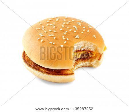 Bitten cheeseburger, isolated on white