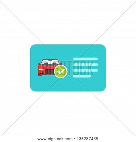 Driver license vector icon isolated on white, blue flat card with car and green checkmark illustration