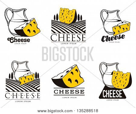 large set of various logo with cheese, vector simple illustration isolated on white background, set of cheese emblems, symbols, logo design concepts, set of cheese logo with a jug of milk