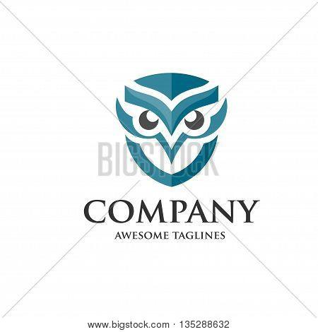 owl blue vector shield logo design template