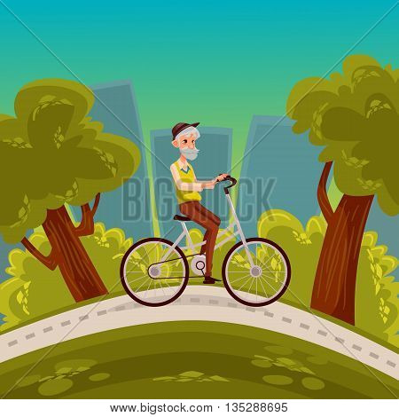 an elderly man with a beard riding a bicycle, vector cartoon comic illustration, healthy grandfather riding a bike around the city park, an old man goes in for sports in the city, cycling in the park