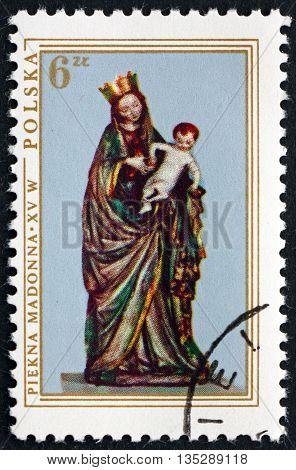 POLAND - CIRCA 1976: a stamp printed in the Poland shows The Beautiful Madonna sculpture 1410 Christmas circa 1976