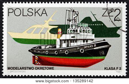 POLAND - CIRCA 1981: a stamp printed in the Poland shows Ship Model Atlas II circa 1981
