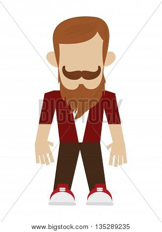 hipster man with full beard and mustache vector illustration