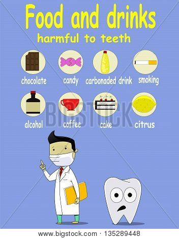 Cartoon infographic about food and drink damage teeth dental problem, great for dental care concept. Vector